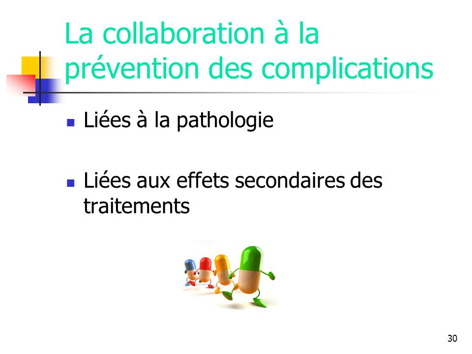 30 La collaboration à la prévention des complications Liées à la pathologie Liées aux effets secondaires des traitements