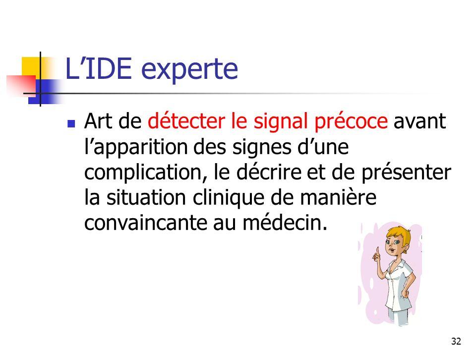 32 LIDE experte Art de détecter le signal précoce avant lapparition des signes dune complication, le décrire et de présenter la situation clinique de