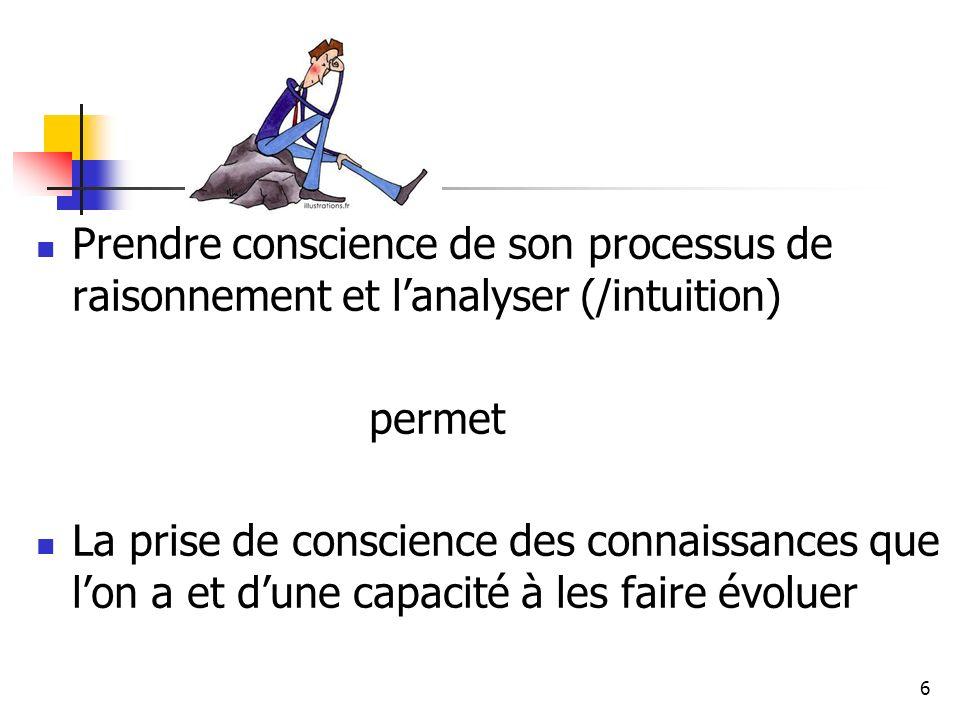 6 Prendre conscience de son processus de raisonnement et lanalyser (/intuition) permet La prise de conscience des connaissances que lon a et dune capa