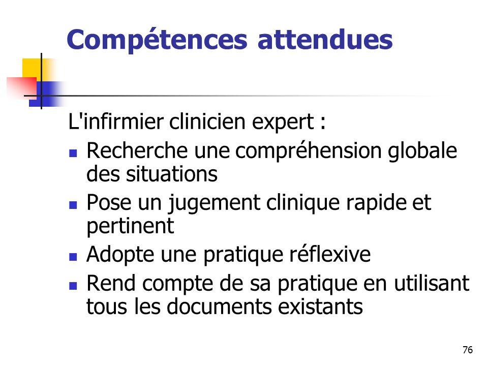 76 Compétences attendues L'infirmier clinicien expert : Recherche une compréhension globale des situations Pose un jugement clinique rapide et pertine