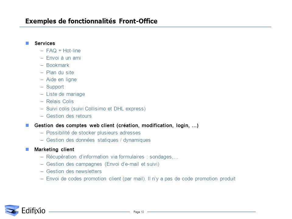 Page 10 Exemples de fonctionnalités Front-Office Services –FAQ + Hot-line –Envoi à un ami –Bookmark –Plan du site –Aide en ligne –Support –Liste de ma