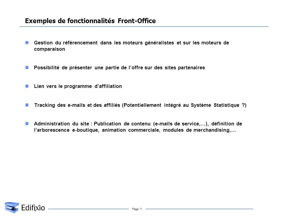 Page 11 Exemples de fonctionnalités Front-Office Gestion du référencement dans les moteurs généralistes et sur les moteurs de comparaison Possibilité