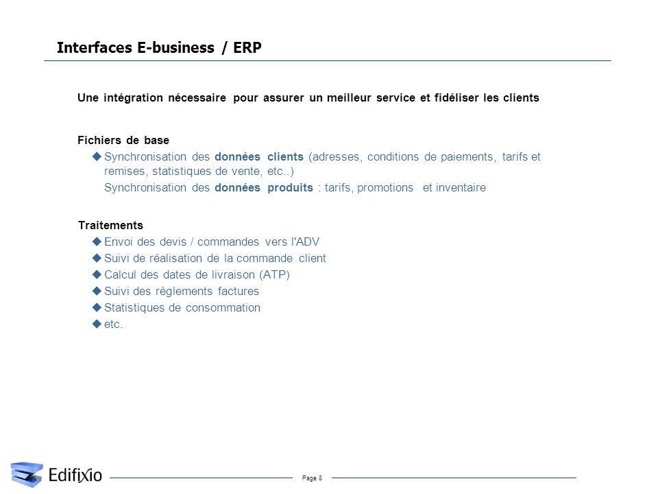 Page 8 Interfaces E-business / ERP uUne intégration nécessaire pour assurer un meilleur service et fidéliser les clients uFichiers de base uSynchronis