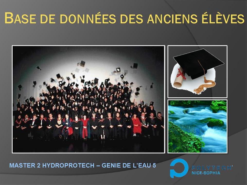 B ASE DE DONNÉES DES ANCIENS ÉLÈVES MASTER 2 HYDROPROTECH – GENIE DE LEAU 5