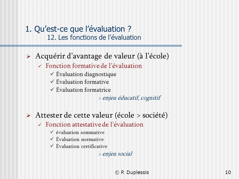 © P. Duplessis10 1. Quest-ce que lévaluation ? 12. Les fonctions de lévaluation Acquérir davantage de valeur (à lécole) Fonction formative de lévaluat
