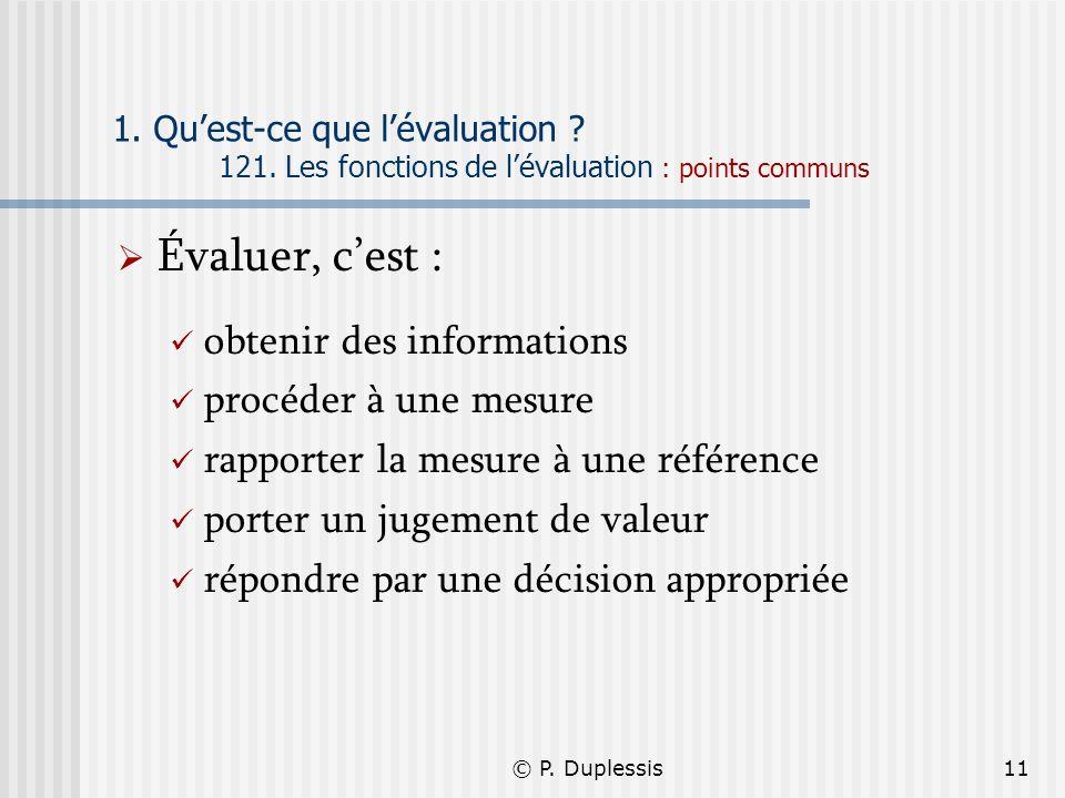© P. Duplessis11 1. Quest-ce que lévaluation ? 121. Les fonctions de lévaluation : points communs Évaluer, cest : obtenir des informations procéder à