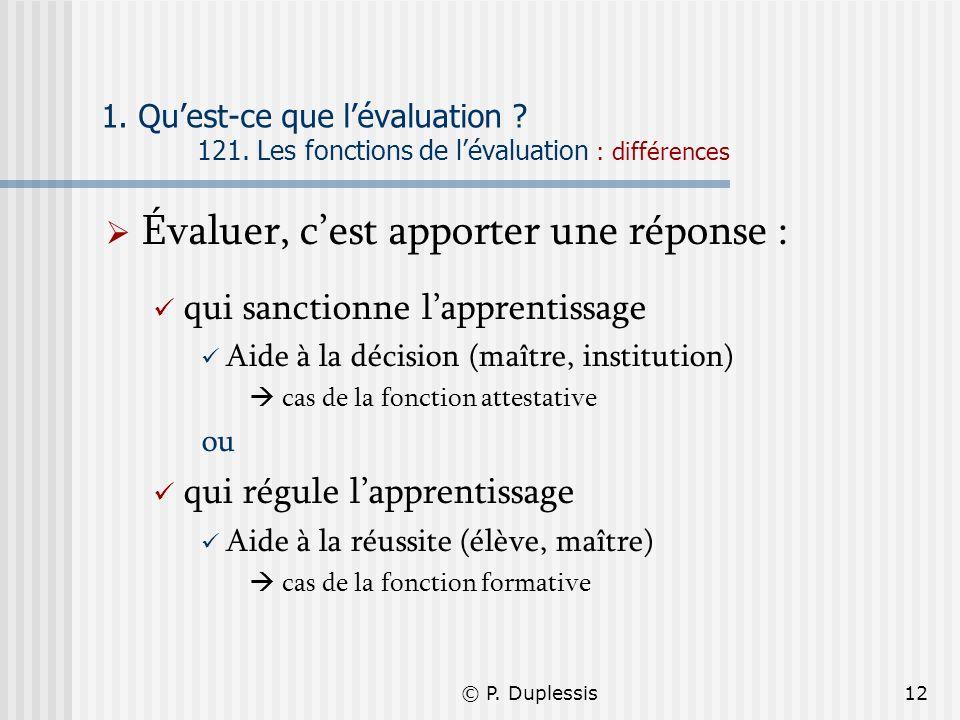 © P. Duplessis12 1. Quest-ce que lévaluation ? 121. Les fonctions de lévaluation : différences Évaluer, cest apporter une réponse : qui sanctionne lap