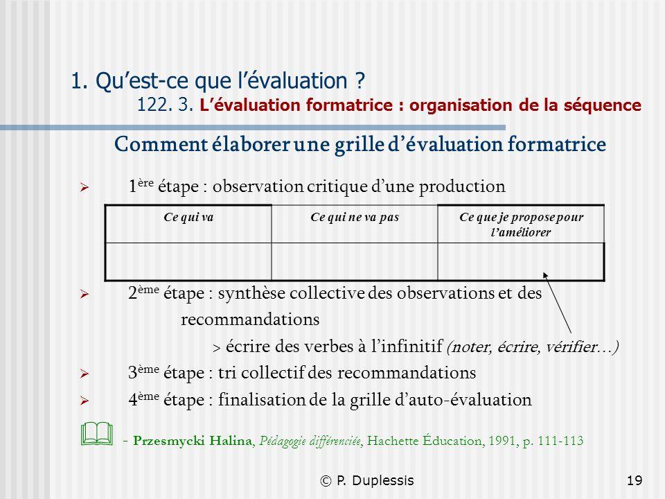 © P. Duplessis19 1. Quest-ce que lévaluation ? 122. 3. Lévaluation formatrice : organisation de la séquence Comment élaborer une grille dévaluation fo