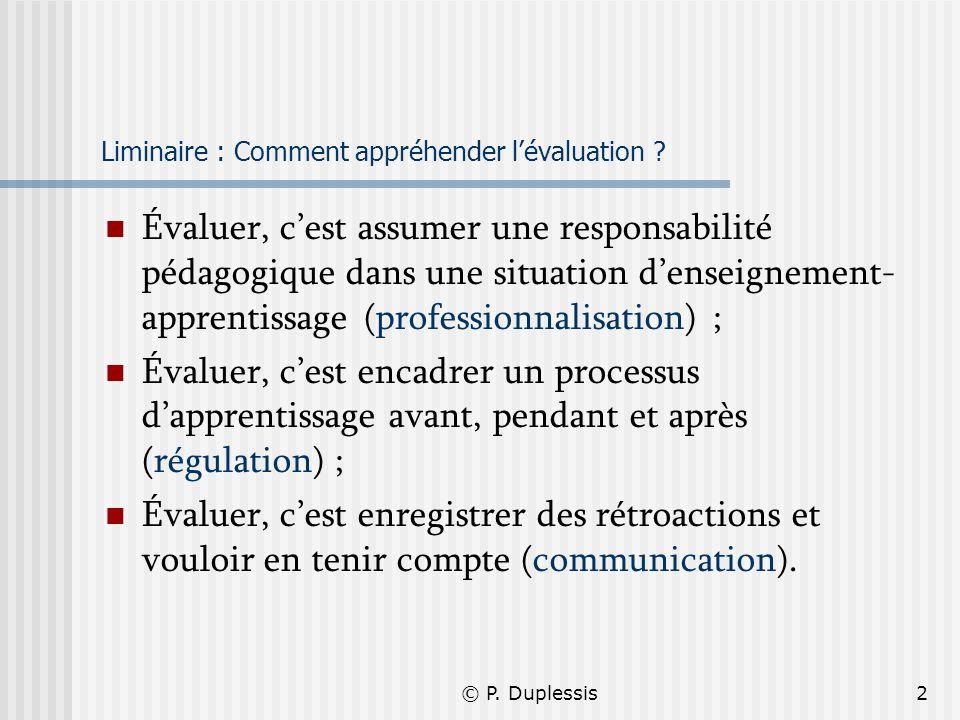 © P. Duplessis2 Liminaire : Comment appréhender lévaluation ? Évaluer, cest assumer une responsabilité pédagogique dans une situation denseignement- a