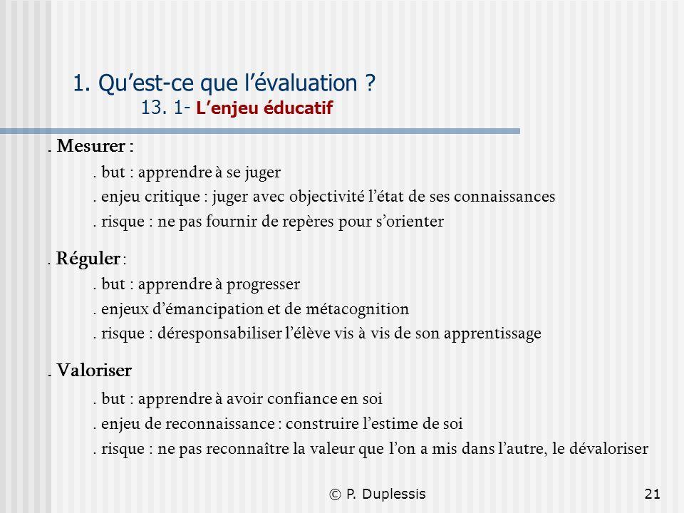 © P. Duplessis21 1. Quest-ce que lévaluation ? 13. 1- Lenjeu éducatif. Mesurer :. but : apprendre à se juger. enjeu critique : juger avec objectivité