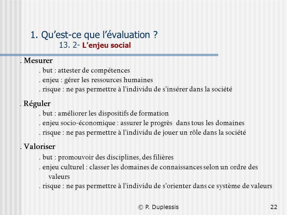 © P. Duplessis22 1. Quest-ce que lévaluation ? 13. 2- Lenjeu social. Mesurer. but : attester de compétences. enjeu : gérer les ressources humaines. ri