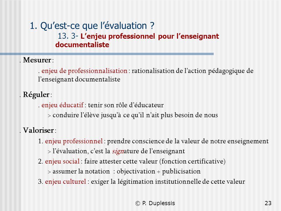 © P. Duplessis23 1. Quest-ce que lévaluation ? 13. 3- Lenjeu professionnel pour lenseignant documentaliste. Mesurer :. enjeu de professionnalisation :