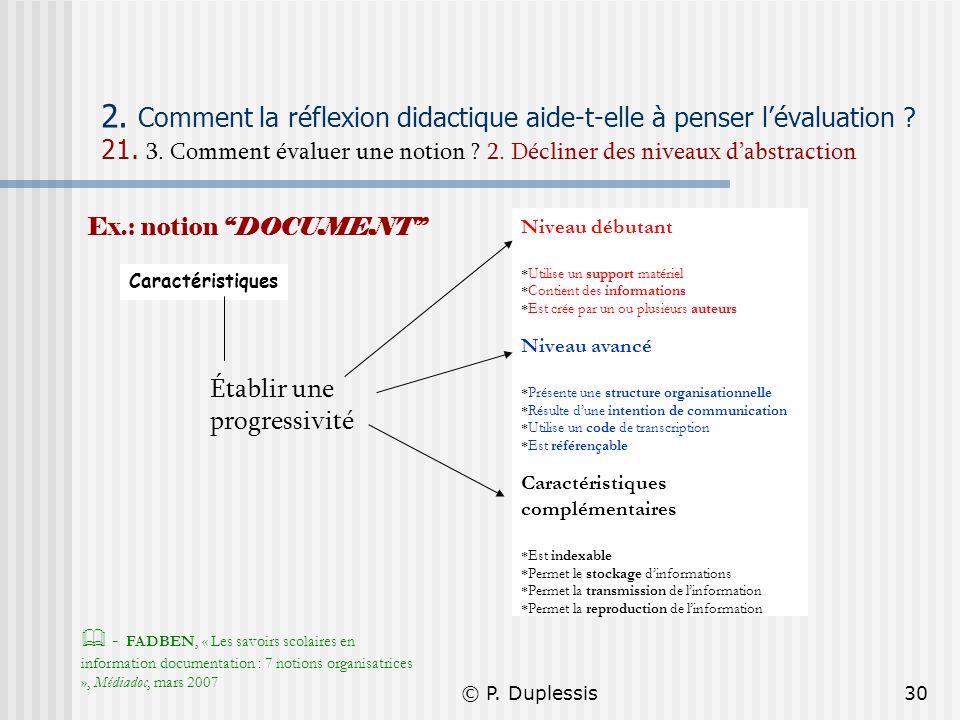 © P. Duplessis30 2. Comment la réflexion didactique aide-t-elle à penser lévaluation ? 21. 3. Comment évaluer une notion ? 2. Décliner des niveaux dab