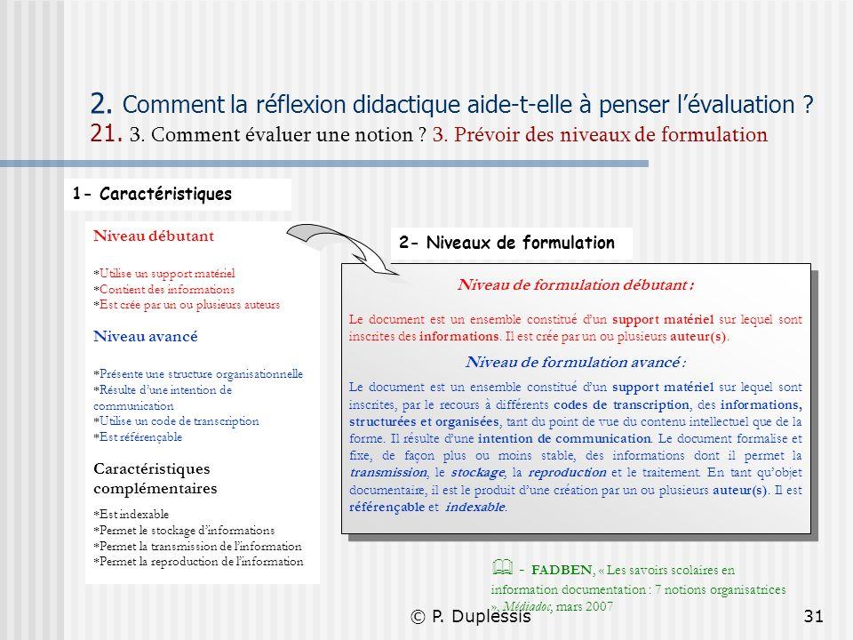 © P. Duplessis31 2. Comment la réflexion didactique aide-t-elle à penser lévaluation ? 21. 3. Comment évaluer une notion ? 3. Prévoir des niveaux de f