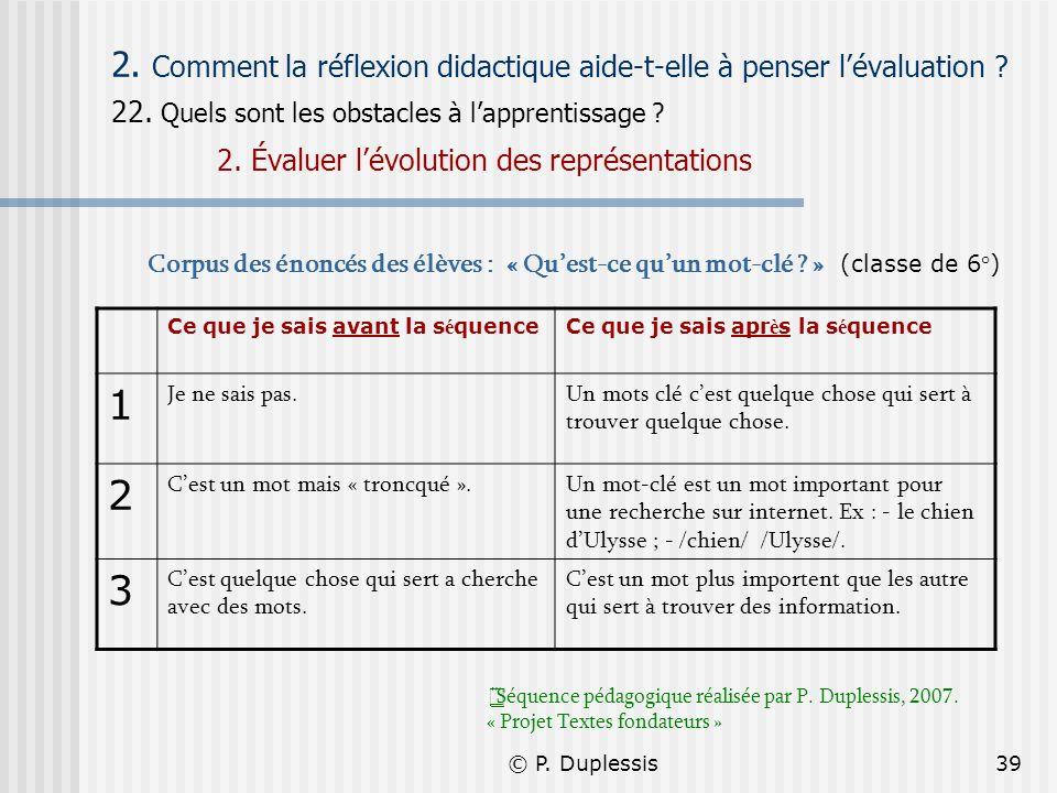 © P. Duplessis39 2. Comment la réflexion didactique aide-t-elle à penser lévaluation ? 22. Quels sont les obstacles à lapprentissage ? 2. Évaluer lévo