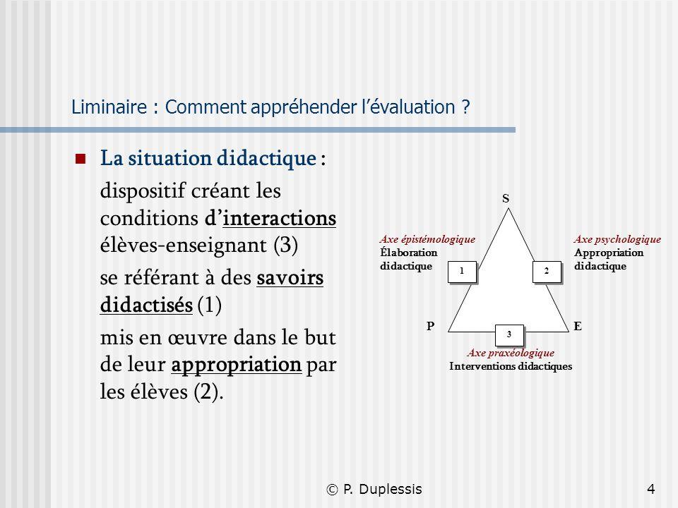 © P. Duplessis4 Liminaire : Comment appréhender lévaluation ? La situation didactique : dispositif créant les conditions dinteractions élèves-enseigna