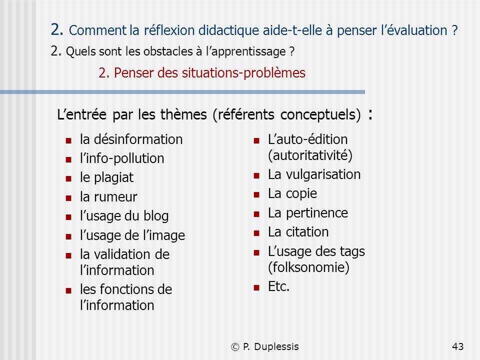 © P. Duplessis43 2. Comment la réflexion didactique aide-t-elle à penser lévaluation ? 2. Quels sont les obstacles à lapprentissage ? 2. Penser des si
