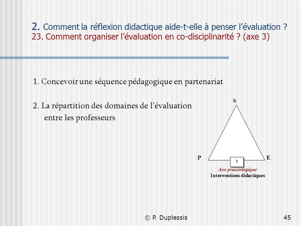 © P. Duplessis45 2. Comment la réflexion didactique aide-t-elle à penser lévaluation ? 23. Comment organiser lévaluation en co-disciplinarité ? (axe 3