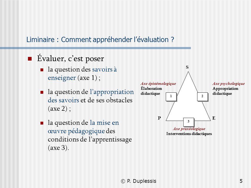 © P. Duplessis5 Liminaire : Comment appréhender lévaluation ? Évaluer, cest poser la question des savoirs à enseigner (axe 1) ; la question de lapprop
