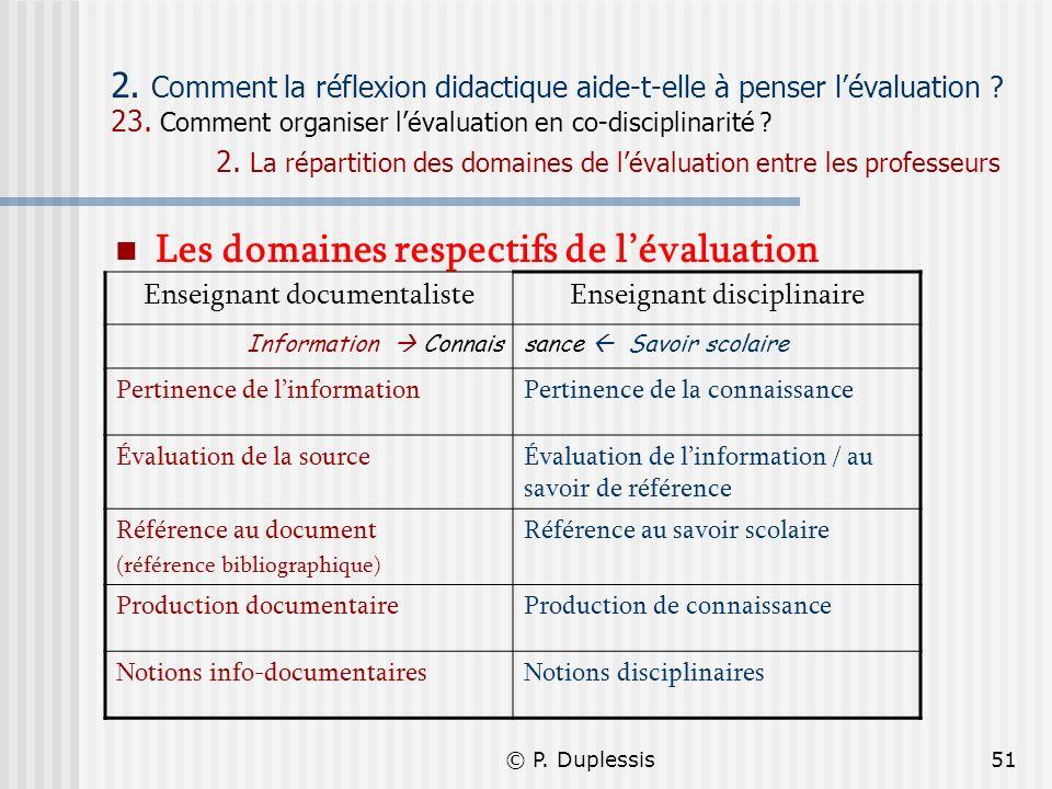 © P. Duplessis51 2. Comment la réflexion didactique aide-t-elle à penser lévaluation ? 23. Comment organiser lévaluation en co-disciplinarité ? 2. La