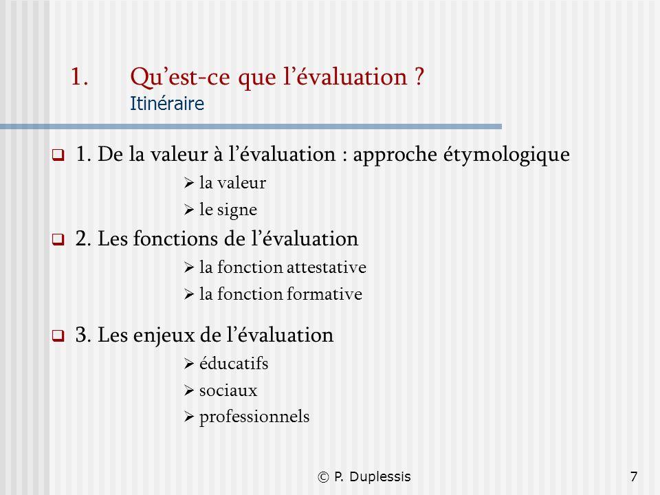 © P. Duplessis7 1.Quest-ce que lévaluation ? Itinéraire 1. De la valeur à lévaluation : approche étymologique la valeur le signe 2. Les fonctions de l