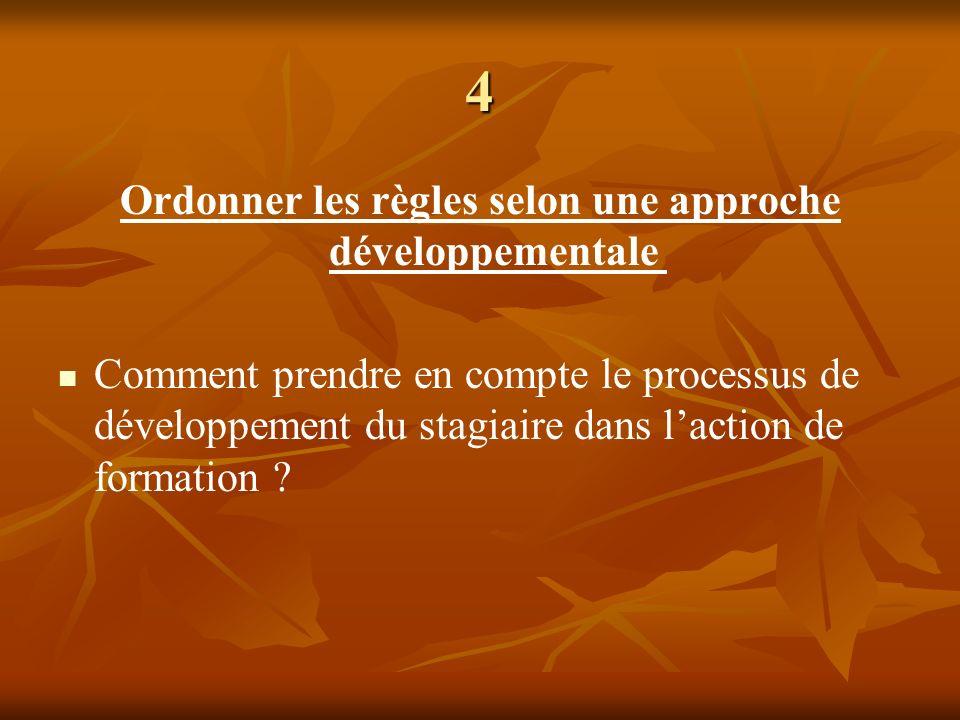 4 Ordonner les règles selon une approche développementale Comment prendre en compte le processus de développement du stagiaire dans laction de formati