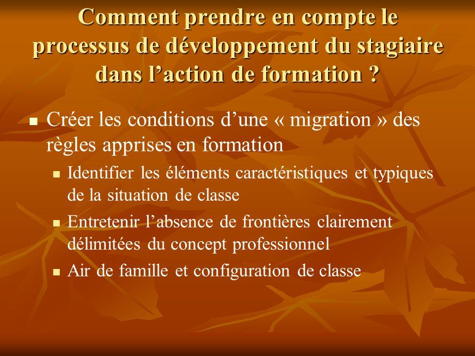 Créer les conditions dune « migration » des règles apprises en formation Identifier les éléments caractéristiques et typiques de la situation de class