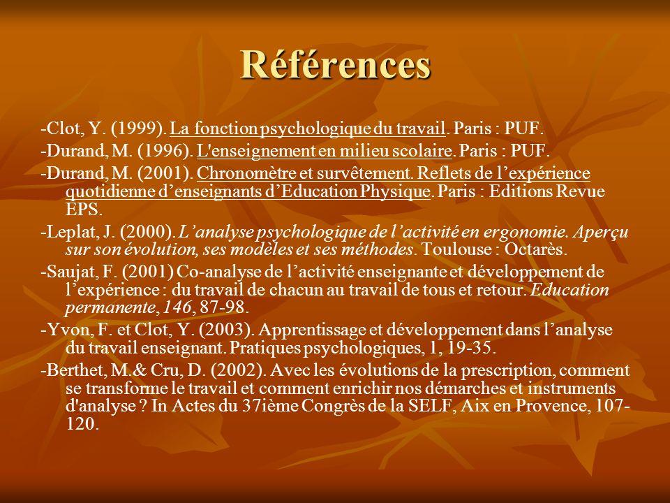 Références -Clot, Y. (1999). La fonction psychologique du travail. Paris : PUF. -Durand, M. (1996). L'enseignement en milieu scolaire. Paris : PUF. -D