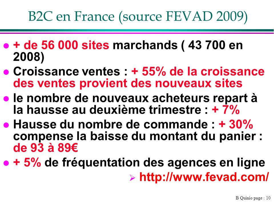 B Quinio page : 10 B2C en France (source FEVAD 2009) l + de 56 000 sites marchands ( 43 700 en 2008) l Croissance ventes : + 55% de la croissance des