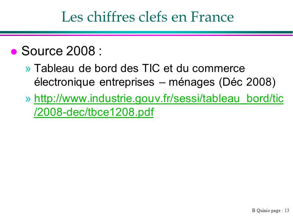 B Quinio page : 13 Les chiffres clefs en France l Source 2008 : »Tableau de bord des TIC et du commerce électronique entreprises – ménages (Déc 2008)