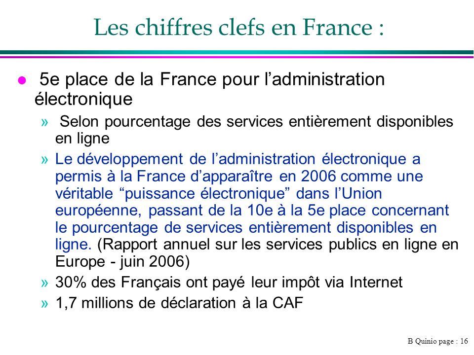 B Quinio page : 16 Les chiffres clefs en France : l 5e place de la France pour ladministration électronique » Selon pourcentage des services entièreme
