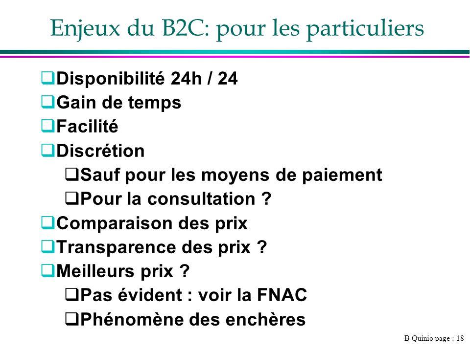 B Quinio page : 18 Enjeux du B2C: pour les particuliers Disponibilité 24h / 24 Gain de temps Facilité Discrétion Sauf pour les moyens de paiement Pour