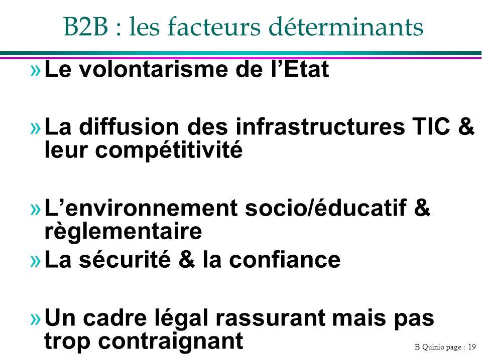 B Quinio page : 19 »Le volontarisme de lEtat »La diffusion des infrastructures TIC & leur compétitivité »Lenvironnement socio/éducatif & règlementaire