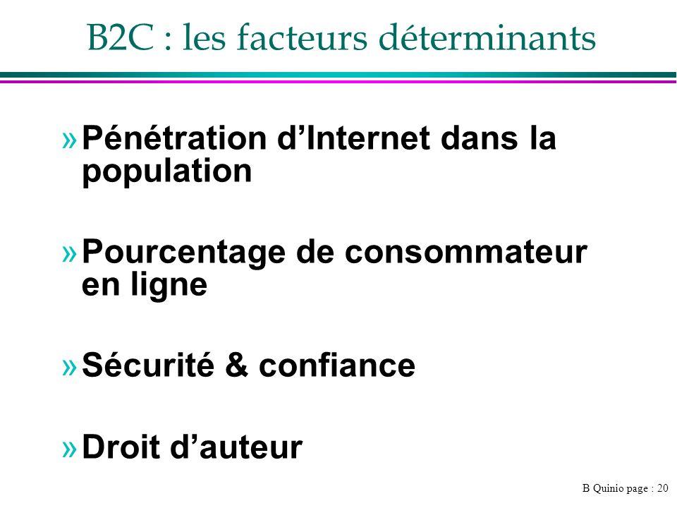 B Quinio page : 20 »Pénétration dInternet dans la population »Pourcentage de consommateur en ligne »Sécurité & confiance »Droit dauteur B2C : les fact