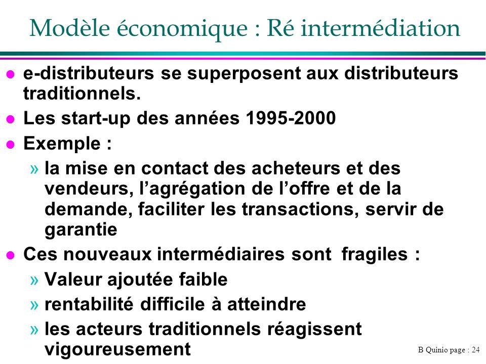 B Quinio page : 24 Modèle économique : Ré intermédiation l e-distributeurs se superposent aux distributeurs traditionnels. l Les start-up des années 1