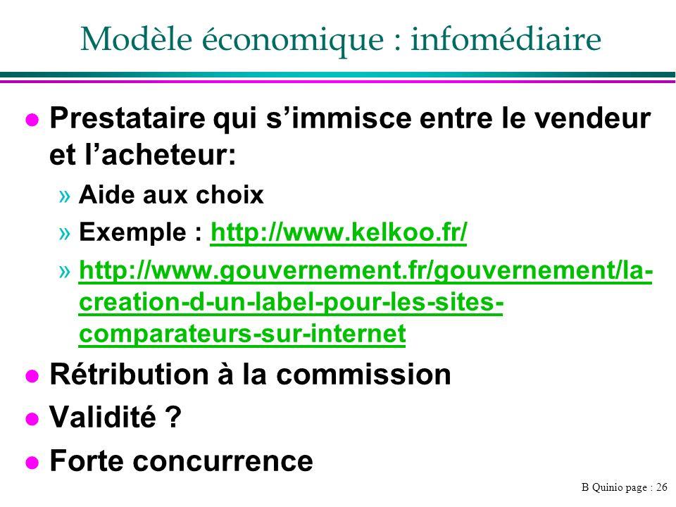 B Quinio page : 26 Modèle économique : infomédiaire l Prestataire qui simmisce entre le vendeur et lacheteur: »Aide aux choix »Exemple : http://www.ke