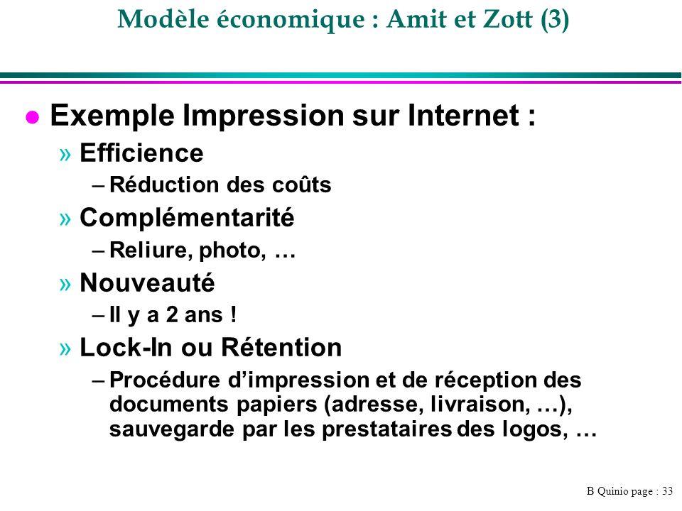 B Quinio page : 33 Modèle économique : Amit et Zott (3) l Exemple Impression sur Internet : »Efficience –Réduction des coûts »Complémentarité –Reliure