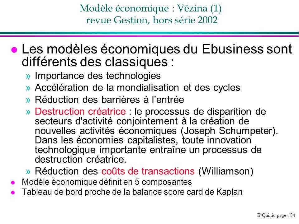 B Quinio page : 34 Modèle économique : Vézina (1) revue Gestion, hors série 2002 l Les modèles économiques du Ebusiness sont différents des classiques