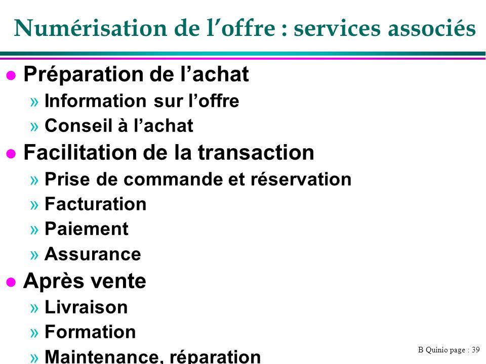 B Quinio page : 39 Numérisation de loffre : services associés l Préparation de lachat »Information sur loffre »Conseil à lachat l Facilitation de la t