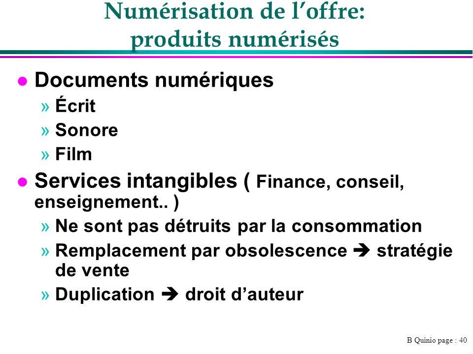 B Quinio page : 40 Numérisation de loffre: produits numérisés l Documents numériques »Écrit »Sonore »Film l Services intangibles ( Finance, conseil, e