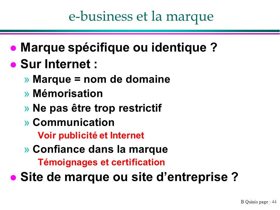 B Quinio page : 44 e-business et la marque l Marque spécifique ou identique ? l Sur Internet : »Marque = nom de domaine »Mémorisation »Ne pas être tro