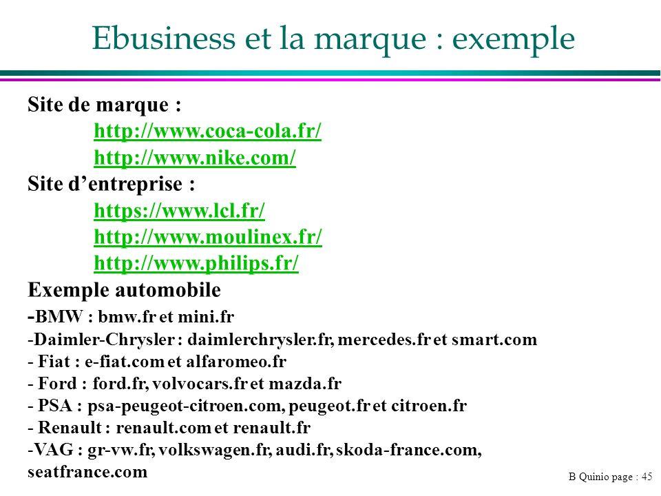 B Quinio page : 45 Ebusiness et la marque : exemple Site de marque : http://www.coca-cola.fr/ http://www.nike.com/ Site dentreprise : https://www.lcl.