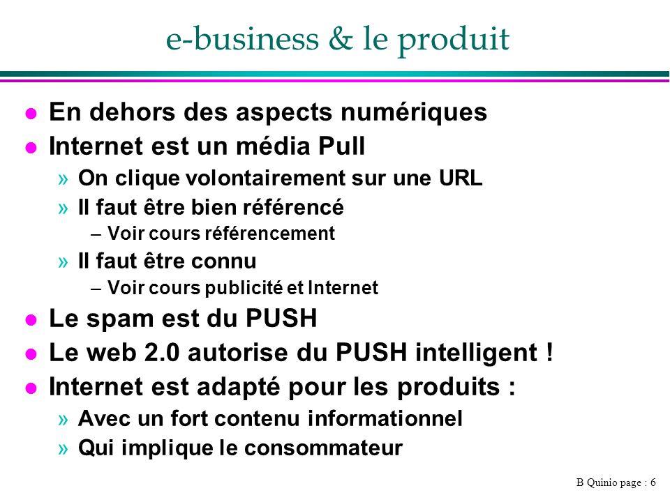 B Quinio page : 7 Définition du domaine l B2B »http://www.elemica.com/http://www.elemica.com/ l B2C »www.fnac.comwww.fnac.com l C2C »Ebay l G2C »Government to citizen : www.service-public.frwww.service-public.fr l G2B »Government to business : https://www.e- ventail.fr/portal/page/portal/eventail/actualiteshttps://www.e- ventail.fr/portal/page/portal/eventail/actualites l B2E »Business to employees l And son on !