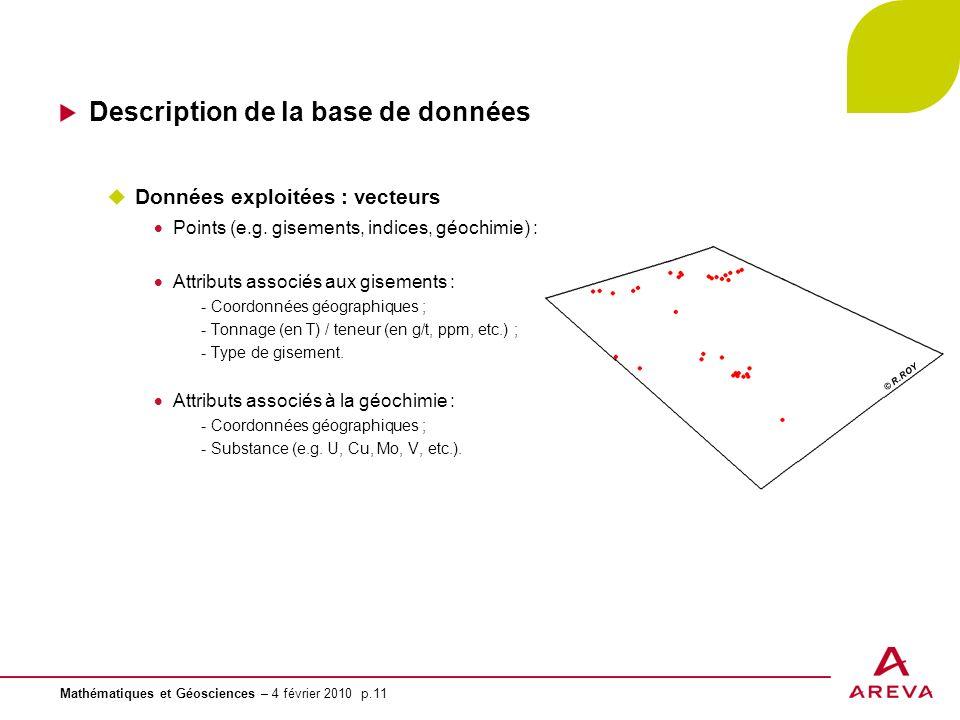 Mathématiques et Géosciences – 4 février 2010 p.11 © R.ROY Description de la base de données Données exploitées : vecteurs Points (e.g. gisements, ind