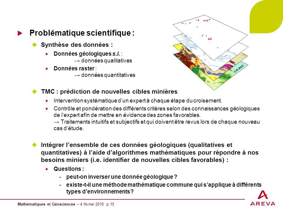 Mathématiques et Géosciences – 4 février 2010 p.15 Problématique scientifique : Synthèse des données : Données géologiques s.l. : données qualitatives