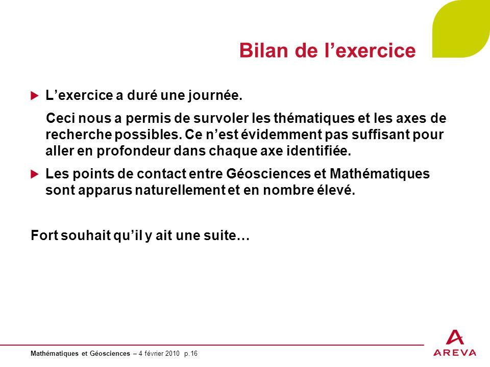 Mathématiques et Géosciences – 4 février 2010 p.16 Bilan de lexercice Lexercice a duré une journée. Ceci nous a permis de survoler les thématiques et
