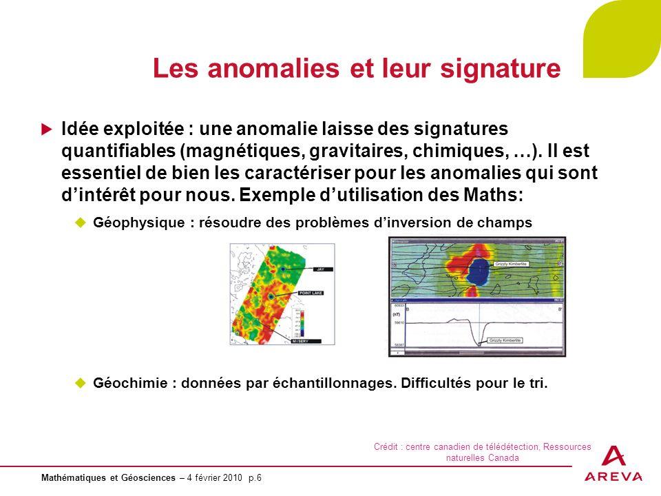 Mathématiques et Géosciences – 4 février 2010 p.6 Les anomalies et leur signature Idée exploitée : une anomalie laisse des signatures quantifiables (m