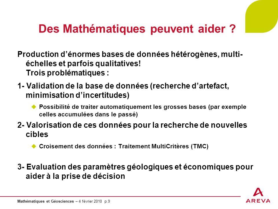 Mathématiques et Géosciences – 4 février 2010 p.9 Des Mathématiques peuvent aider ? Production dénormes bases de données hétérogènes, multi- échelles