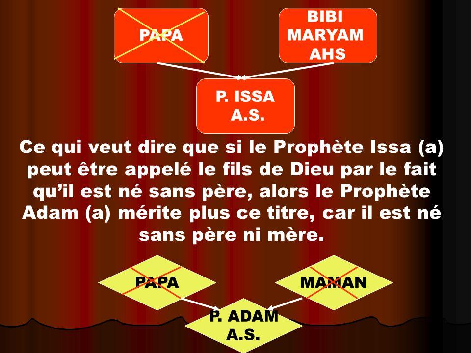 Ce qui veut dire que si le Prophète Issa (a) peut être appelé le fils de Dieu par le fait quil est né sans père, alors le Prophète Adam (a) mérite plus ce titre, car il est né sans père ni mère.