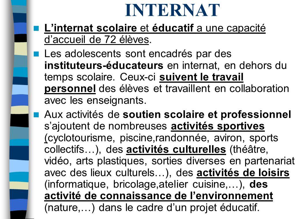INTERNAT Linternat scolaire et éducatif a une capacité daccueil de 72 élèves.